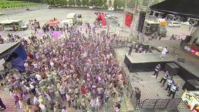 Holi Color festival 4 - aerial video stock footage