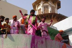 At the Holi color festival in Mathura, Rajastan India royalty free stock images