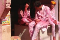 At the Holi color festival in Mathura, Rajastan India royalty free stock photography