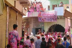 At the Holi color festival in Mathura, Rajastan India stock photography