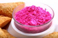 Holi color with gujiya Royalty Free Stock Image