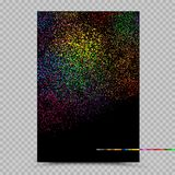 Holi colors poster banner paper template. Phagwa festival of paints color confetti tinsel sequin design. Abstract small multicolor sand. Fireworks on dark Royalty Free Stock Images