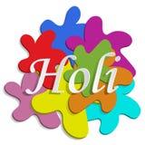 Holi 2019 3D vlekken van verf en de inschrijving Holi Vlieger, banner Grafische vector Groettekst Vectordoopvontillustratie royalty-vrije illustratie