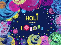 Holi design poster. Happy Holi - festival of colors.Traditional Indian festival Holi. Bengali New Year.Template for festive banner, poster. Holiday of spring Royalty Free Stock Image