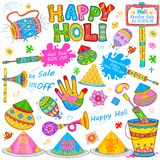 Holi element in Indian kitsch style Stock Photo