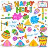 Holi element w Indiańskim kicza stylu Zdjęcie Stock