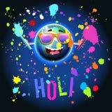 Holi färbt Festival über Erdkugel im Raum Stockbild