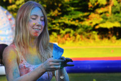 Holi färgfestival 2014, Riverhead NY Royaltyfria Foton