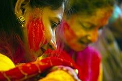 Holi fait face Photographie stock