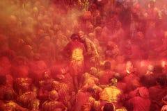 Holi-Feier bei Barsana Stockbilder