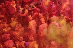 Holi-Feier bei Barsana Stockfotos