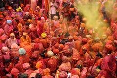 Holi-Feier bei Nandgaon Lizenzfreie Stockfotografie