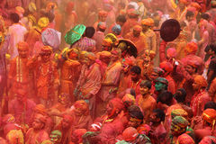 Holi-Feier bei Nandgaon Stockfotos