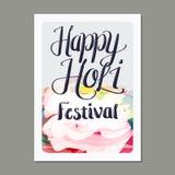 Holi-Feier-Festival Plakat Tempate Lizenzfreies Stockfoto