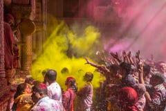 Holi-Feier, Vrindavan und Mathura, Indien Stockbilder