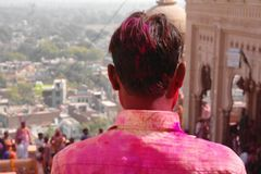 At the holi fest in Mathura, Rajastan India. At the Holi color festival in Mathura, Rajastan India. Celebrating the color fest stock images