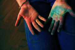 Holi fest palms. Palms full of dry colors after dream holi festival royalty free stock images