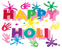 Holi festival. An illustration of happy holi in colorful letters to celebrate the hindu festival with hand prints and paint splashes isolated on a white Royalty Free Stock Photography