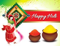 Holi festival background with traditional girl Stock Photo