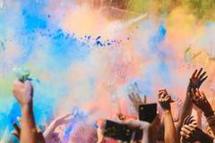 Holi Festival. Celebrants dancing during the color Holi Festival stock images