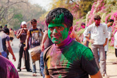 Holi festival celebrations in India. DELHI, INDIA - MARCH 20: Tourist with students of Jawaharlal Nehru University celebrate festival Holi on March 20, 2011 in Stock Photography