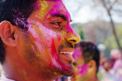 Holi festival celebrations in India. DELHI, INDIA - MARCH 20: Tourist with students of Jawaharlal Nehru University celebrate festival Holi on March 20, 2011 in Royalty Free Stock Photo