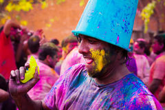 Holi festival celebrations in India. DELHI, INDIA - MARCH 20: Tourist with students of Jawaharlal Nehru University celebrate festival Holi on March 20, 2011 in Royalty Free Stock Photography