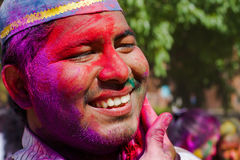 Holi festival celebrations in India. DELHI, INDIA - MARCH 20: Tourist with students of Jawaharlal Nehru University celebrate festival Holi on March 20, 2011 in Stock Photos
