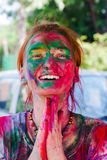 Holi festival celebrations in India. European girl celebrate festival Holi in Delhi, India. Holi, or Holli,is a spring festival celebrated by Hindus, Sikhs and Stock Photo