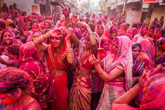Holi festival celebrations in India. People face smeared with colored powder celebrate Holi festival in Begum Bazar, Hyderabad Royalty Free Stock Photography