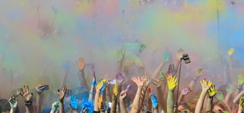 Holi festival with colorful hands Royalty Free Stock Image