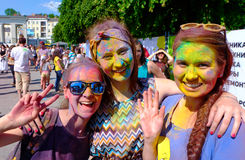 Holi Festival of Colors. Kaliningrad, Russia Royalty Free Stock Photography