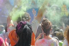 Holi. Festival of colors at stadium Kirovets in St Stock Images