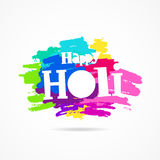 Holi. Festival of colors. Trend lettering. Vector illustration on white background with dabs of ink of different colors. Great holiday gift card Stock Images