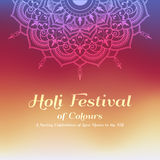 Holi festival of colours background. Happy holi festival greeting card design with Mandala decoration. Vector illustration Royalty Free Stock Images