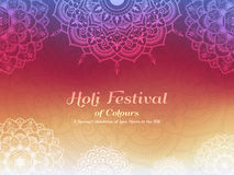 Holi festival of colours background. Happy holi festival greeting card design with Mandala decoration. Vector illustration Stock Image