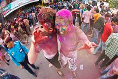 Holi Festival (Festival of Colors) in Nepal Stock Photos