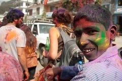 Holi Festival (Festival von Farben) in Nepal Stockbilder