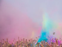 Holi festival. The Holi is a fun-filled festival where you get dirty with colored powders, just for fun. From religious festivities, it has become a joyous stock photography