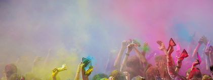 Holi festival. The Holi is a fun-filled festival where you get dirty with colored powders, just for fun. From religious festivities, it has become a joyous royalty free stock image