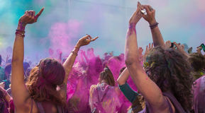 Holi festival. The Holi is a fun-filled festival where you get dirty with colored powders, just for fun. From religious festivities, it has become a joyous royalty free stock photo