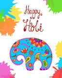 Holi festival India vector background. Illustration of colorful Holi pattern in Indian style with color baby elephant and calligraphic inscription: Happy Holi Royalty Free Stock Image