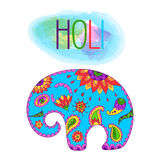 Holi festival India vector background. Illustration of colorful Holi pattern in Indian style with color baby elephant and calligraphic inscription: Happy Holi Stock Image