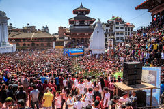 Holi festival 2013, Katmandu, Nepal Arkivbilder