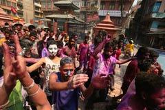 Holi Festival  in Nepal Stock Photography