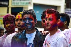 Holi festival in Pokhara stock photo