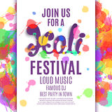 Holi festival poster. Royalty Free Stock Image
