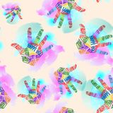 Holi Festival seamless pattern, multicolored typography hand prints. Bright vector background Stock Photos
