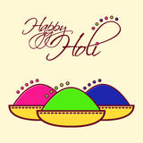 Holi festival of spring and bright colors in India. Traditional colored powder Gulal. Flat icon vector design. Usable Stock Images