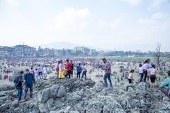 Holi festivalen av färgberöm i Tundikhel Katmandu Nepal royaltyfri fotografi